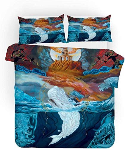 WFBZ Bedding Set Fantasy Design Blue Black Red Forest Galaxy Animal Microfibre Pillow Case and Duvet Cover for Children Adults, Microfibre, White whale, 220 x 240 cm