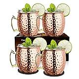 LIVEHITOP 4 Stück Moscow Mule Kupfer Becher Set, 18 Oz Handgemacht Cocktail Tasse for Kaltes Getränk, Wein, Bar, Party, Geschenkset, mit 4 Untersetzer