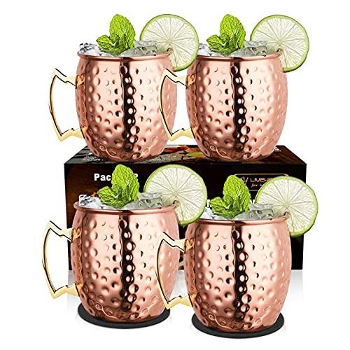 LIVEHITOP Moscow Mule Set 4 Bicchieri Rame, 19.5 oz Tazze Rame con Coaster Accessori per Cocktail, Bevanda Fredda, Festa, Bar (Pack of 4)