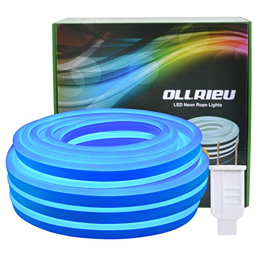 Blue Neon Rope Lights Outdoor Waterproof,50ft LED Strip Light Indoor Connectable 110V UL Power Plug-in 1800 Units SMD 2835 Flexible Decorative Tape Lighting for Party Bar Pool Patio Garden