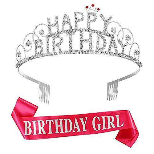 Corona Tiara Brillante de Birthday Girl Diadema de Adorno de Cristal Diamantes de Imitación con Banda de Birthday Girl Rosa Roja
