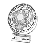 Rechargeable Desk Fans Clip on Fan 4 Speeds Air Circulating USB Fan,for Outdoor Camping Tent Beach or Treadmill Car Personal Desk Fan (Color : Black)
