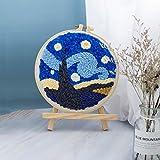 HUANGSAN Kit de Bordado con Aguja Perforada del Cielo Nocturno Estrellado, Punto de Cruz Hecho a Mano con Costura en Bucle, Adecuado para Principiantes para Decorar a Mano, Van Gogh, 1 Juego