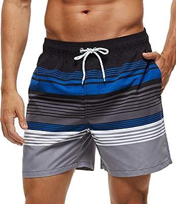 SILKWORLD Men's Swim Trunks Quick Dry Bathing Suit, Beach Shorts with Mesh Lining,Black/Blue/Grey Stripe,Large