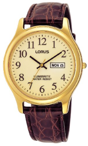 Lorus Watches RXF48AX9 - Orologio da polso da uomo, cinturino in pelle colore marrone