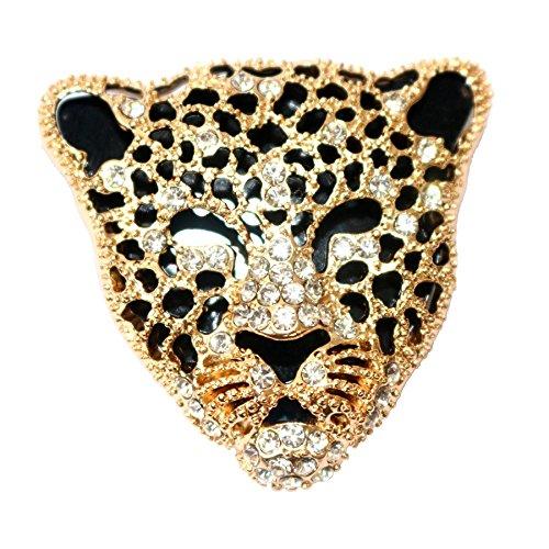 Navachi, spilla placcata oro 18 k, con cristalli bianchi smaltati, a forma di testa di leopardo e 18ct base metallo placcato oro, colore: Giallo, cod. XZ13-1859B-1