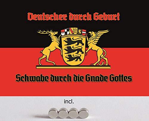 Blechschild 20x30cm gewölbt incl. 4 Magneten Schwaben Schwabe Flagge Wappen Metall Deko Geschenk Schild
