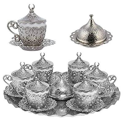 Alisveristime 27 Pc Turkish Greek Arabic Coffee Espresso Cup Saucer Set (Gelincik) Silver