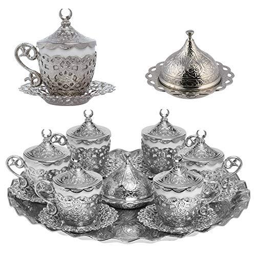 Alisveristime 27-teiliges Espressotassen-Set (Gelincik) für türkische, griechische und arabische Kaffee-/Espressotassen und Untertassen, silberfarben