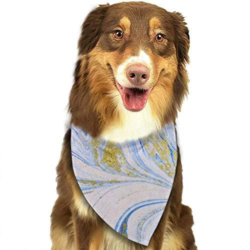 YAGEAD Hund Bandana Welpe und Haustier Bandanas, Aquarell Achat Marmoriert Blau Weißgold Abstrakte flüssige Marmor Muster Haustier Schal