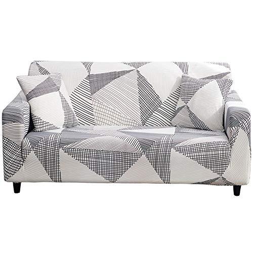 Hoobuy Funda de sofá estampada elástica para sofá de 3 cojines con dos fundas de almohada gratis (02#, 3 plazas/grandes 2 plazas)