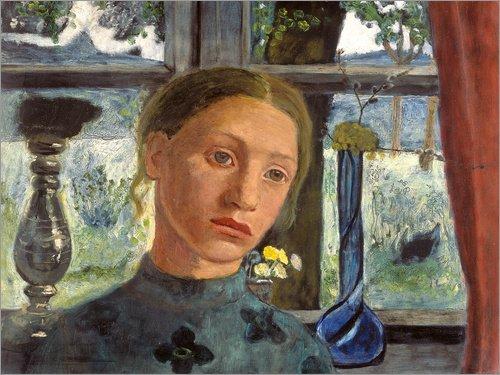 Leinwandbild 90 x 70 cm: Mädchen vor einem Fenster von Paula Modersohn-Becker/ARTOTHEK - fertiges Wandbild, Bild auf Keilrahmen, Fertigbild auf echter Leinwand, Leinwanddruck