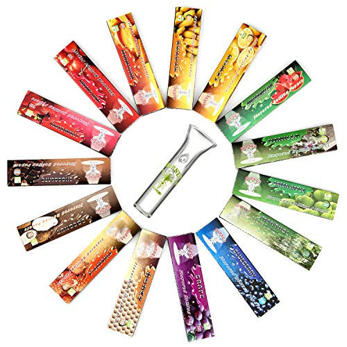 HORNET Flavored Rolling Papers with Glass Filter, 480 PCS Unbleached and Raw Papers, 15 Juicy Fruit Flavors (King Size)