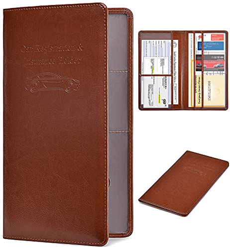 HERRIAT Car Registration and Insurance Card Holder - Leather Vehicle Glove Box Automobile Documents Paperwork Wallet Case Organizer for ID, Driver's License, Key Contact Information Cards - Men&Women