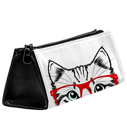 EZIOLY Hipster Federmäppchen mit roten Gläsern und Katzen-Motiv, für Stifte, Kosmetiktasche, kompakt, mit Reißverschluss