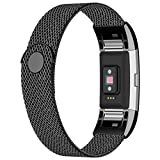 iGK Replacement Bands Compatible for Fitbit Charge 2, Stainless Steel Metal Bracelet with Unique Magnet Clasp Black Small