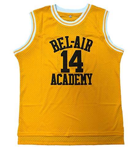 Youth Smith #14 Shirts The Fresh Prince of Bel Air Academy Basketball Jersey (Yellow, Youth Small)