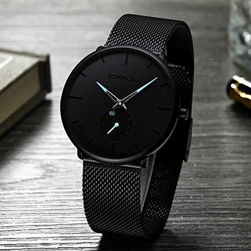 FIZILI - Reloj de pulsera para hombre, ultra fino, minimalista, moderno, lujoso, para hombres, negocios, vestido, casual, resistente al agua, reloj de cuarzo para hombre con correa de malla de acero i