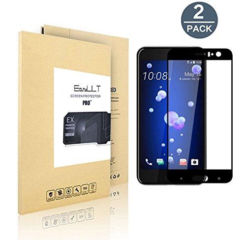 【2枚入り】全面フルカバー(ブラック) HTC U11 ガラスフィルム液晶保護 疎油撥水 0.26mm3D強化ガラスフィルム 硬度9H (9H 3D) スクリーンプロテクター 液晶保護 保護フィルム 指紋防止-EasyULT