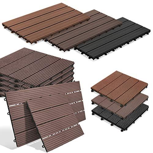 Baldosas de clic Royal   en forma de azulejos o pavimentos, azulejos de terraza para balcón   atractivo aspecto de madera en 3 colores   función de drenaje (30 x 30 cm, marrón oscuro)