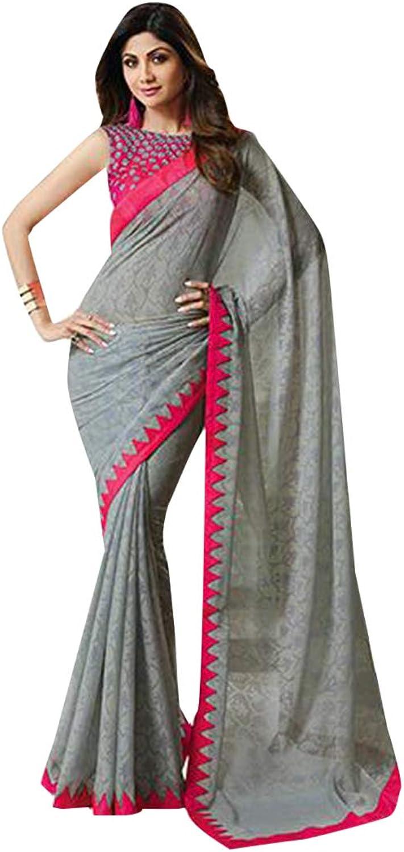 Grey Light Weight Saree Designer Blouse Formal Wear 7482