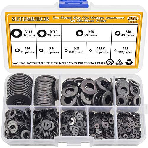 Sutemribor Black Zinc Plated Alloy Steel Flat Washers Set 580 Pieces, 9 Sizes - M2 M2.5 M3 M4 M5 M6 M8 M10 M12