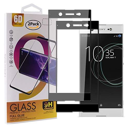 Guran [2 Paquete Protector de Pantalla para Sony Xperia XA1 Ultra Smartphone Cobertura Completa Protección 9H Dureza Alta Definicion Vidrio Templado Película - Negro
