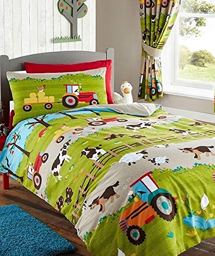 Farmyard Toddler Duvet Cover with Tractors, Sheep, Cows and Dogs