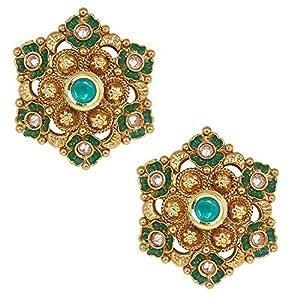 Shiining Jewel 18K Gold Plated Pure Copper Kundan, LCT, Pearls and CZ studded Traditonal Ethnic Stud Eaarrings for Women (SJ_1721)