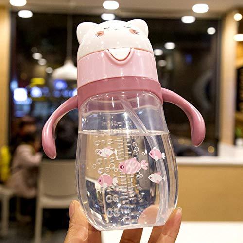 Kaffeetasse Mugs Geschenk 270Ml Lernen Trinken Trinkbecher Füttern Wasser Flaschengriffe Niedlicher Cartoon Pp Stroh Auslaufbecher, D8830 Pink