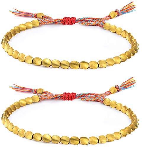Jewdreamer 1-4Pcs Handmade Tibetan Copper Bead Bracelets Copper Beads Braided Cotton Friendship Bracelet Set for Women Men Lucky Bracelets