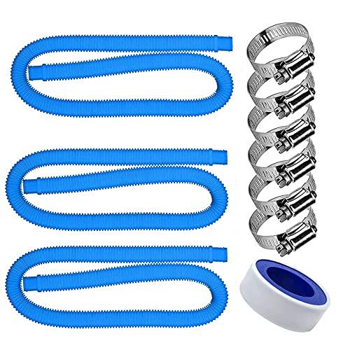 Poolschlauch 32mm Schwarz 1.5m I Schwimmbadschlauch 32mm I Solarschlauch Schlauch Pool I Flexibler Wasserschlauch Mit PTFE Dichtband & Schlauchschellen (3 Sätze blau)