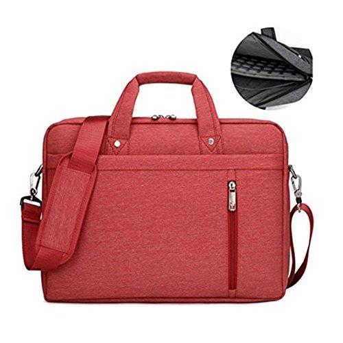 17.3' Waterproof Shockproof Roomy Stylish Laptop Shoulder Messenger Bag Handle Bag Tablet Briefcase For 17 Inch Laptop/Tablet/Macbook/Surface (Red)