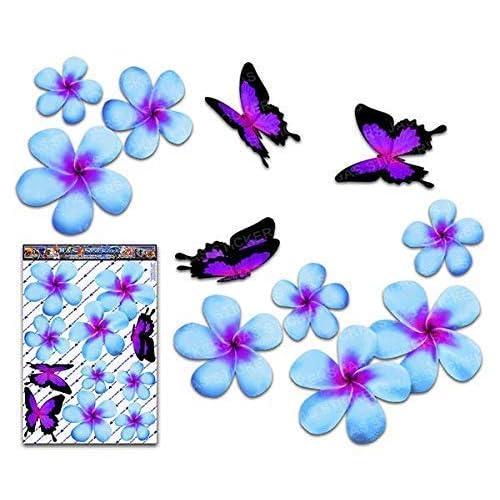 JAS Stickers® Fiore frangipani plumeria blu doppio + farfalla grande adesivi auto autoadesivi - ST00024BL_LGE