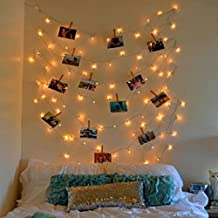 Glimmer Lightings Copper Quirky Photo Clip String Lights with Wooden Clips (30 Bulb, 8 m, Warm White)
