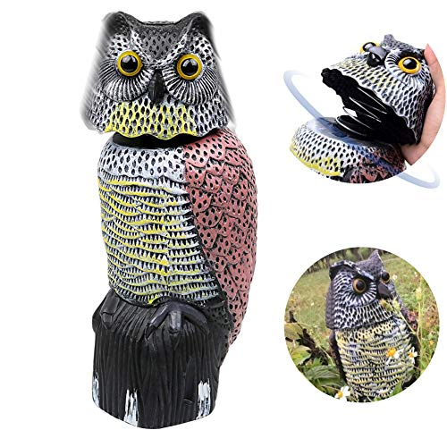 Owl Decoy 360 Rotate Head, Scarecrow Fake Owls Natural Enemy Bird Deterrent Realistic Eyes & Waterproof Shape Owls to Scare Squirrels/Rabbits/Birds Away