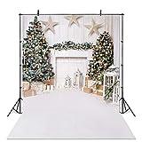Avezano Christmas Photography Backdrop for Children Kids Portrait Photoshoot Indoor White Fireplace Wood Floor Xmas Background for Photo Studio (5x7ft)