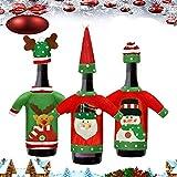 CODIRATO 3 Stück Weinflasche Kleidung Weihnachten Weinflasche Abdeckung Weinflasche Pullover Weinflasche Flaschenanzug mit Mütze Weinflasche Taschen Weinflaschenhülle für Weinflasche...