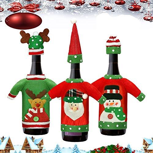 CODIRATO 3 Stück Weinflasche Kleidung Weihnachten Weinflasche Abdeckung Weinflasche Pullover Weinflasche Flaschenanzug mit Mütze Weinflasche Taschen Weinflaschenhülle für Weinflasche Tischdekoration