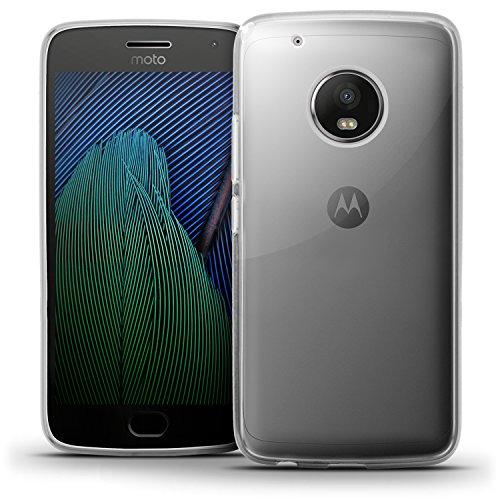 igadgitz Transparent Klar Glänzend Etui Tasche Hülle Gel TPU für Motorola Moto G5 Plus (Moto G Plus 5. Gen/Lenovo Moto G5 Plus) Case Cover + Bildschirmschutzfolie