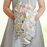 Phalaenopsis Wasserfall Hochzeit, Brautstrauß, Crystal Brautjungfer Blume Mix White & Pink Leaf Rebe Satin Ribbon Décor