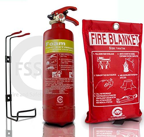 mächtig Premium FSSUK 1 Liter Schaum Feuerlöscher mit Feuerschutz.  EG.  Ideal zum Kochen zu Hause…