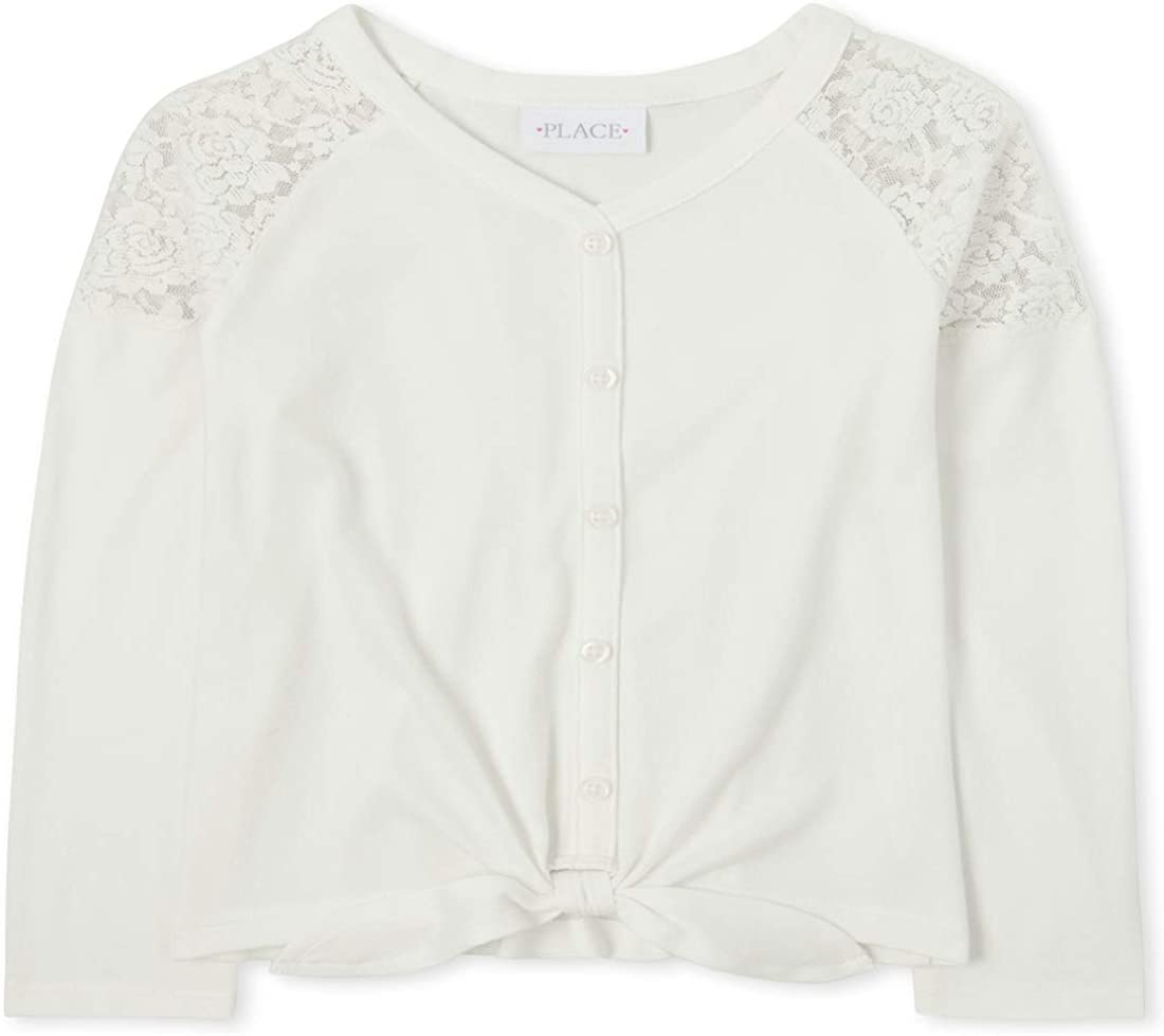 The Children's Place Girls' Lace Tie Front Lightweight Sweater Top