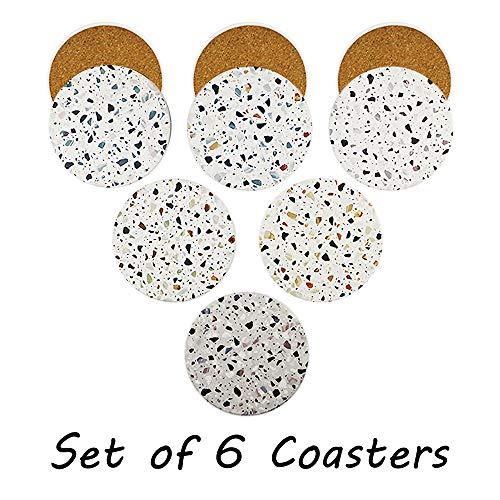 Acme Designs - Juego de 6 posavasos redondos de cerámica para absorber bebidas, con base de corcho, alfombrilla de protección para tazas y tazas, oficina, cocina, muchas opciones de patrones