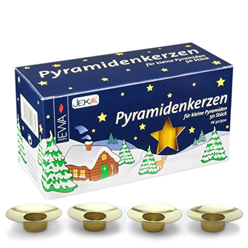 Jeka Honey 14mm Diameter Pyramidenkerzen German Christmas Candles, Set of 50 (4 Pack of Drip Catchers)