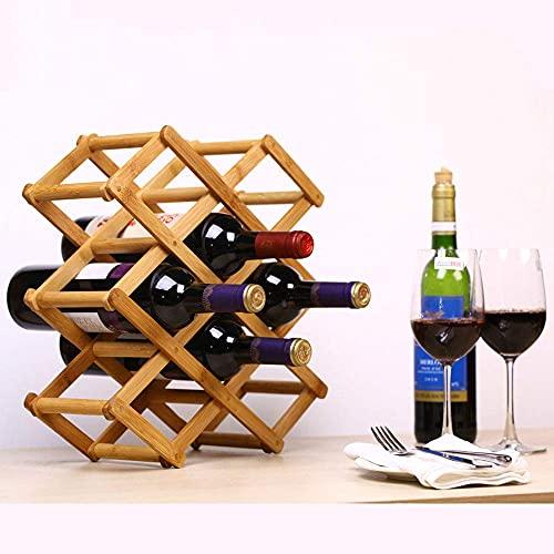 Botellero de bambú con 3 niveles para 10 botellas de vino, plegable.