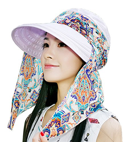 Kuyou Sommer Strand Hat Damen Outdoor Sport Hut Anti-UV Sonnenhut (Helles Lila)