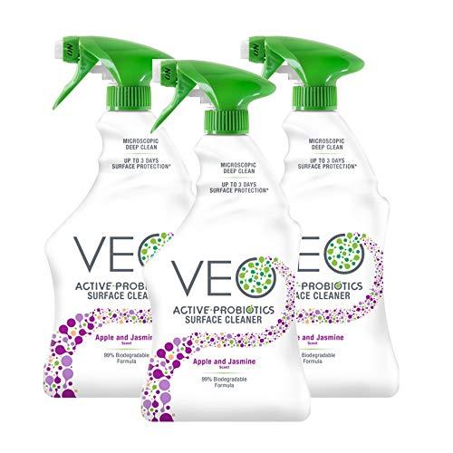VEO Active-Probiotics Surface Cleaner - Apple & Jasmine Scent Spray 22 oz (Pack of 3)