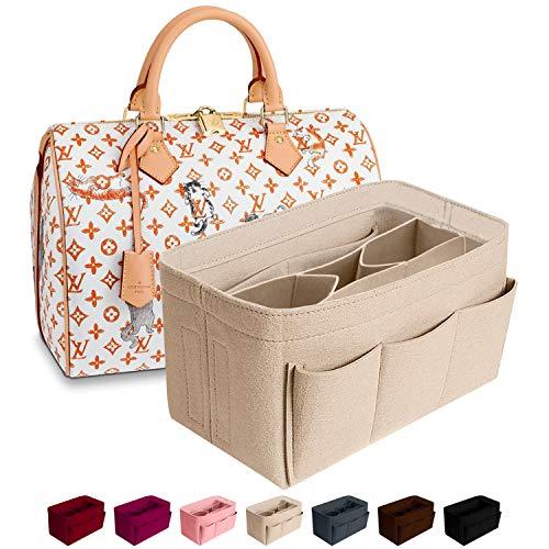 Purse Organizer Insert Felt Bag Organizer Handbag Organizer Insert Bag In Bag Organizer For Tote Fits LV Speedy Neverfull, Beige, Medium