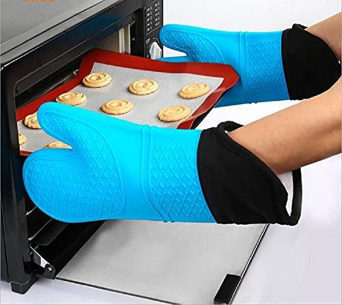 Siliconen Oven Handschoenen - Hittebestendige Grill BBQ Handschoenen met Vingers Waterdicht Niet Slip Oven Mitts Keuken Kookhandschoenen voor Bakken, Grillen, Barbecue, Blauw